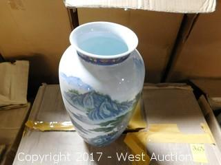 "(4) Oriental Hand Painted 13"" Porcelain Vases - Blue and Red Tone with Landscape Theme"
