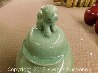 "(1) Oriental 24"" Porcelain Temple Jar - Green Tone, Uniform Glaze"