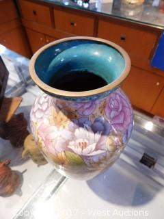 "Hand Painted Porcelain Vase 12"""