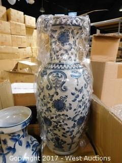 "(5) Oriental Hand Painted 17"" Porcelain Vases - Floral Theme"
