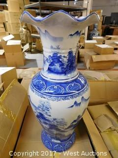 "(2) Oriental Hand Painted 24"" Porcelain Vases - Blue with Landscape Theme"