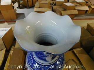 "(2) Oriental Hand Painted 24"" Porcelain Vases - Blue with Landscape Theme"