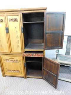 Oriental Desk Secretaire Hutch Cabinet with Pull-Out Chair