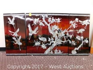 4-Panel Lacquer with Mother-of-Pearl Inlay Wall Art
