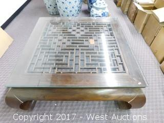 """Wood Coffee Table with Glass Top 42"""" x 19"""" H"""
