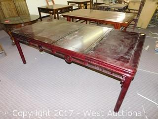 """Carved Lacquered Wood Table - 31""""x43"""""""