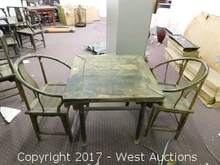 3-Piece Vintage Wood Table and Chair Set
