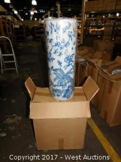 "(2) 24"" Hand Painted Umbrella Vases Blue and White"