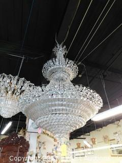 Crystal Glass Chandelier Approx. 4' Wide
