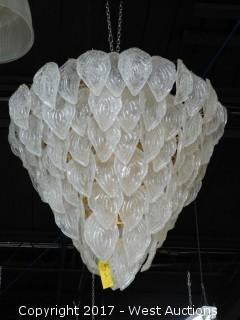 Chandelier with Leaves of Glass Decoration