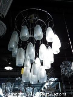 Large Hanging Light Fixture with (20+) Glass Pendants