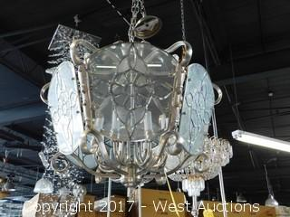 Clear Glass 'Stained Glass' Style Chandelier - Approx. 2.5' W