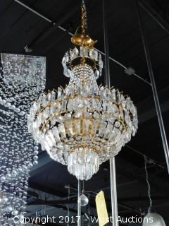 Glass / Crystal Chandelier with Gold Decor, Approx. 2' Diameter