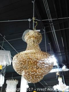 Glass with Gold Decor Chandelier