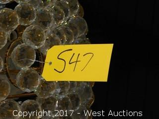 Glass / Crystal Chandelier with Gold Decor Approx. 2.5' Diameter