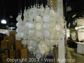 Glass / Mother of Pearl Chandelier Approx. 8' Tall