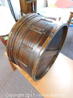 """23"""" Wide, 13"""" Tall Wooden Round Bin"""
