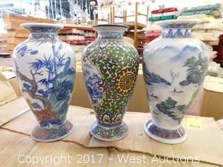 "(14) Oriental Hand Painted 11"" Porcelain Vases"
