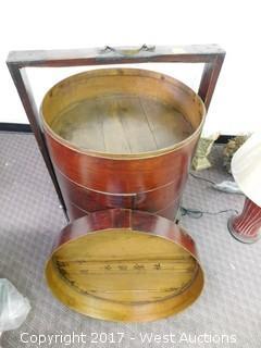 "Vintage Oriental 5-Tier Wooden Cart 38"""