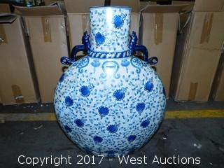 "24"" Hand Painted Porcelain Vase"