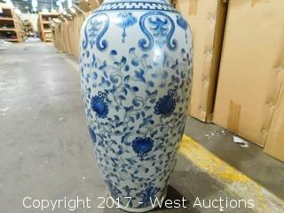 """(2) 24"""" Hand Painted Porcelain Vases"""