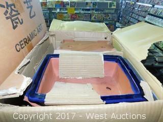 (5) Boxes of Blue Rectangular Ceramic Bonsai Pot Sets