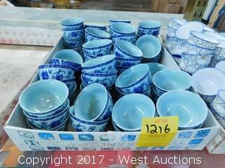Tray of Miniature Blue Tea Cups