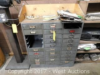 "Steel Cabinet of Drawers with Contents 32"" x 13"" x 33"""