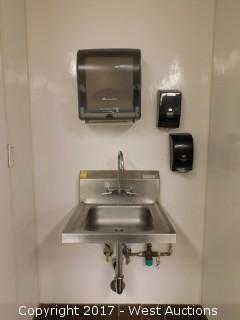 John Boos Wall Mount Hand Sink 2' x 2' with Towel Dispenser and (2) Soap Dispensers
