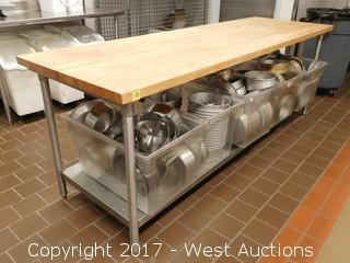 8' Wood Top Prep Table with (80+) Cake Pans in