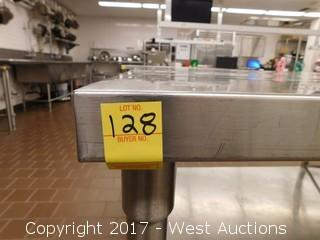 (1) Stainless Steel Table with Undershelf 8'x4'