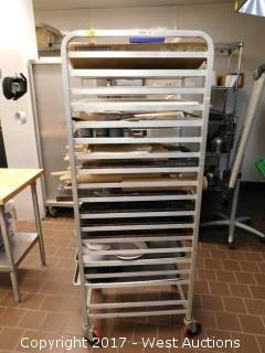 (1) 6' Portable Tray Rack with Rolling Pins and Trays
