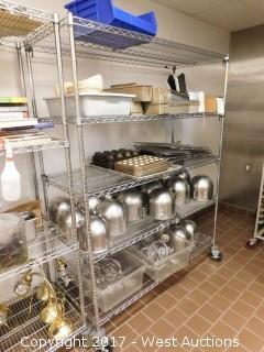 6' Metro Rack with 100+ Baking Supplies; Bowls, Pans, Mixer Heads