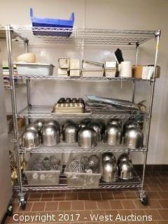 6' Metro Rack with 100+ Baking Supplies; Bowls, Pans, Mixer Heads