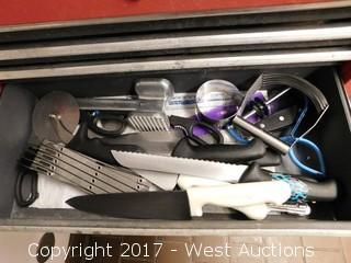 Stack-On Tool Box Full of Knives/Cutting Utensils