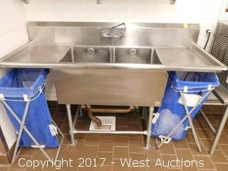John Boos Two Basin Stainless Sink with Drainboards and (2) Waste Bins