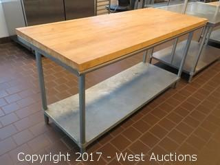 Prep Table with Wood Top 6'x2.5'