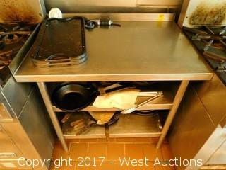 Stainless Steel Table with Undershelves and Pans, Bowls, Griddle Trays