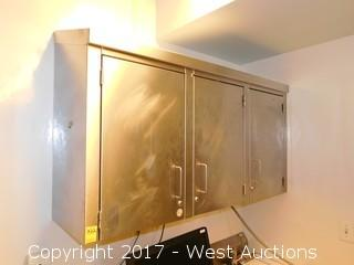 Stainless Steel 3-Door Wall Cabinet with Contents
