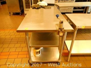 Stainless Work Table on Casters with (2) Undershelves and Can Opener