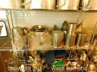Metro 4 Shelf Rack on Casters with Contents of Pots, Pans and Utensils