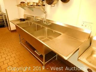 John Boos Stainless Steel 3-Basin Sink with Two Drainboards