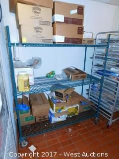 Metro Green Epoxy Metal Shelving on Casters with Contents