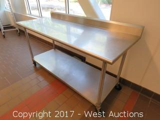 Rolling Stainless Steel Prep Table 6'x2.5'