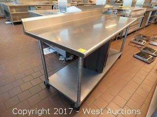 Stainless Steel Table with Vise Can Opener and Insulated Beverage Dispenser