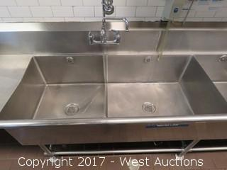 Stainless Steel 4-Basin Sink with 2 Drainboards and Swivel Rinse Faucet