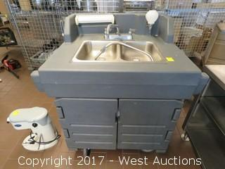 Cambro CamKiosk Self-Contained Hand Sink Cart with Double Sink