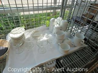Metro Wire Cage Cart with Dinnerware