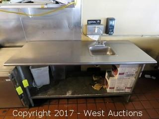 6'x2.5' Stainless Steel Table With Sink