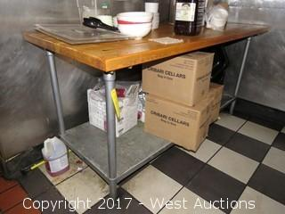6' x 2.5' Wood Top Food Prep Table with Contents